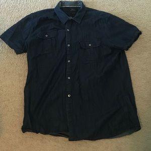 Men's navy polka dot button down shirt